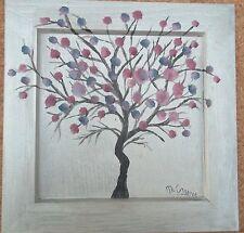 Tableau peinture huile sur bois arbre rose sur fond argenté 20/20 cm, M.Gravier
