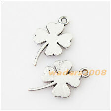 12 New Smooth Clover Heart Tibetan Silver Tone Charms Pendants 12.5x20.5mm