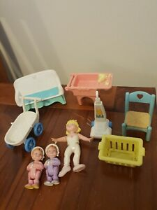 Fisher Price Loving Family Vintage Dolls And Furniture