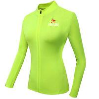 Green Women's Long Sleeve Cycling Tops Coolmax Team Racing Mtb Bike Cycle Jersey