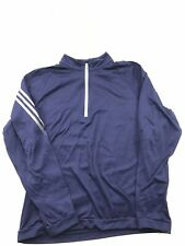 Men's M Medium Adidas 1/4 Zip Pullover Blue 3 Stripe Sweat Shirt Golf (01)