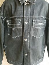 Mens Vintage KARL KANI Black Denim Jacket Sz 2XL/XXL Urban Hip Hop Rap Street