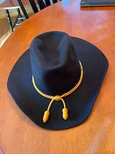 "Stetson 4X. Beaver XXXXX Cowboy Hat Black 3 1/2"" Brim  Size 7 1/2"