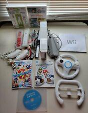 Nintendo Wii Console Mario Kart Bundle Wii Sports + 2 Controller +2 Wheel +Games