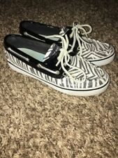 Sperry Top - Sider Womens Black & White Zebra Sequined Boat Shoes Size 6 M