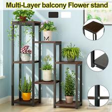 Garden Bamboo Plant Stand Pot Planter Holder Rack 7 Tier Display Shelves Outdoor
