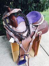 "14"" Purple Bling Medium Dark Oil Western Youth Trail Barrel Racer Saddle 4pc SET"