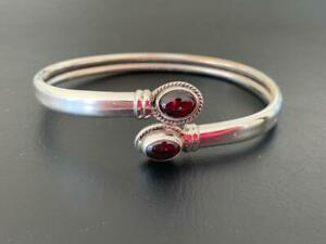 925 Sterling Silver Bangle Bracelet Garnet Gemstone Open End Solid Adjustable