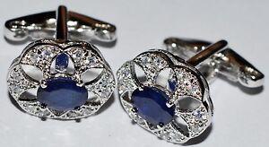 Silver Cufflinks 2.2 Ct Blue Sapphire Cufflinks Wedding Engagement Men Cufflinks