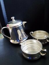 JLS Silver on Copper Small Teapot & unmarked creamer and sugar bowl