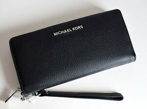 MICHAEL KORS Geldbörse Portemonnaie Wallet TRAVEL CONTINENTAL schwarz-silber