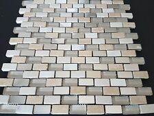 BCT Stone & Pearl Mosaic with chrome segments 15x30mm - sheets 30x30cm