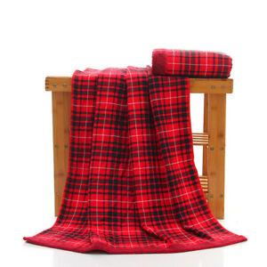 100% Cotton Plaid Striped Bath Towel Super Soft Adult Beach Towel Christmas Gift