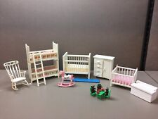 Lot of 9 Dollhouse Miniatures Child's Room Furniture Bunk Bed Playpen Crib more