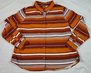 Cabelas Womens Button Front Chamois Shirt Southwest Tribal Orange XL Lng Sleeve