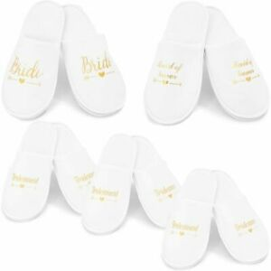 Sparkle and Bash White Wedding Slippers for Bridal Party (5 Pairs)