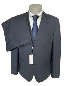 Abito uomo Confitalia, blu DROP 6 con riga a tono in fresco lana, sconto 70%.