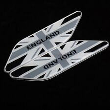 2pcs England UK Britain Gray Metal Side Fender Wing Emblem Badge Sticker Jaguar
