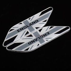 2pcs England UK Britain Gray Metal Side Fender Wing Emblem Badge Sticker Jaguar