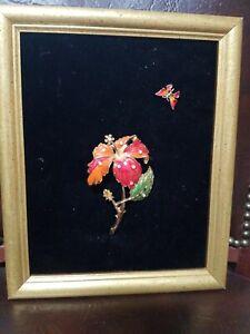 FRAMED VINTAGE  JEWELRY ART ON VELVET PICTURE OF A FLOWER