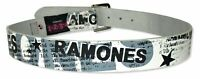 Ramones All Over Print White Leather Belt New Official Band Merch