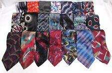 NEW Mens Group of 3 Brand Name Silk & Other Bold Colorful Art Deco Necktie Ties