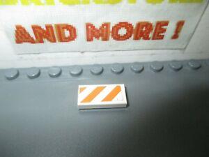 Lego 1x Tile Decorated 1x2 Orange White Danger Stripes Pattern 7739 3069bpb604