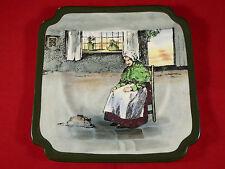"""Royal Doulton """"Fireside"""" Plaque de Gâteau seriesware d4570 vieille dame avec cat C1928"""