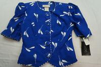 Vintage Leslie Lucks Womens 4 Blue White Cotton Blend Jacket NWT VTG B4014