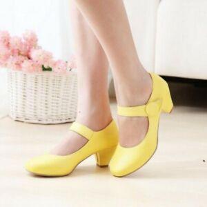 Women Sweet Lolita Grils Buckle Kitten Mid Heel Mary Jane Round Toe Court Shoes