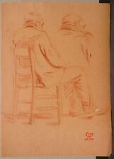 """Dessin Ancien Fusain LEON LEPELTIER """" Portrait hommes de dos assis"""" LLP18"""