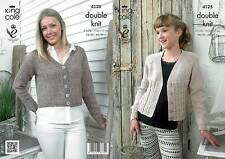 King Cole 4125 Knitting Pattern Cropped Raglan Cardigans in Authentic DK