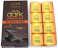 Zevic 70% Belgian Dark Cocoa with Stevia, 90g / 3.1 oz, 100% Sugarfree Chocolate