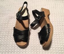 HANNA ANDERSSON Swedish Crossover Wood Clogs Sandals $150 Black Leather 37