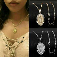 Women Virgin Mary Pendant Necklace Overlay Religious Catholic Jewelry Gift Newly