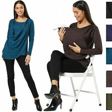 HAPPY MAMA Women's Maternity Nursing Cowl Blouse Wrapped Top Sweater 1058