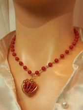 Vintage 40's Brass Celluloid Coral Hue Rose Flower Mid Length Necklace 658jl8