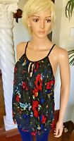 INC New XL Black Floral Swing Babydoll Tank Top Lace Overlay Blouse $69 NWT