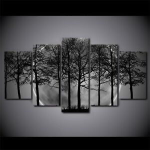 Shadow of tree in Full Moon 5 PCs Canvas Print Wall Poster Picture Home Decor