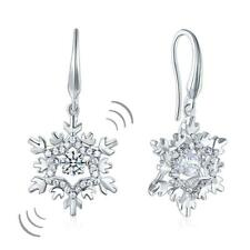 Classic Dancing Stone Dangle Drop Earrings Snowflake 925 Sterling Silver Wedding