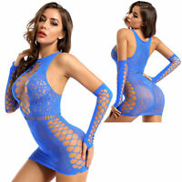 Women's Sexy Hollow Out Bodycon Mini Dress Fishnet Stretch Clubwear See Through
