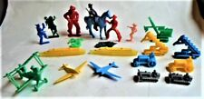 GROUP OF 21 PLASTIC TOYS FROM THE 1950's~ SHIPS PLANES COWBOYS CONSTRUCTION TOYS