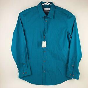 Calvin Klein Mens Medium Non-Iron Slim Fit Blue Dress Shirt NWT