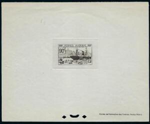 ALGERIA FRANCE 1939 US SHIP UNLOADING CARGO IN FRANCE 90¢ IMPERF EPREVE DELUXE