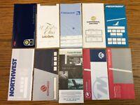 Airline Ticket Jackets (10) TWA Continental Northwest Piedmont America West NOS