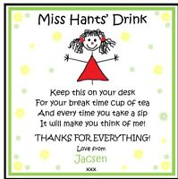 Personalised Coaster TEACHER / TEACHING ASSISTANT NURSERY- End of Term Thank you