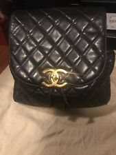 Chanel Backpack Blk Leather Gold HW 100% Authentic