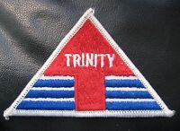 """TRINITY EMBROIDERED SEW ON PATCH TRIANGLE 3 7/8"""" x 2 1/2"""""""