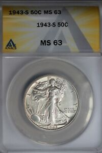 1943-S  .50   ANACS  MS 63  Walking Liberty, Half Dollar, Lady Liberty Half
