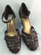 Liz Baker Shoes Wedge Strappy Sandal Brown Vegan Stephanie Size 7.5M
